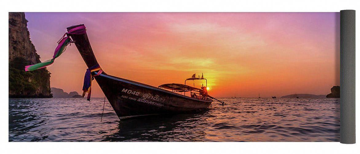 Sunset Yoga Mat Featuring The Photograph Longtail By Nicklas Gustafsson Beach Paradise Tropical Summer Ocean Sea Adventure