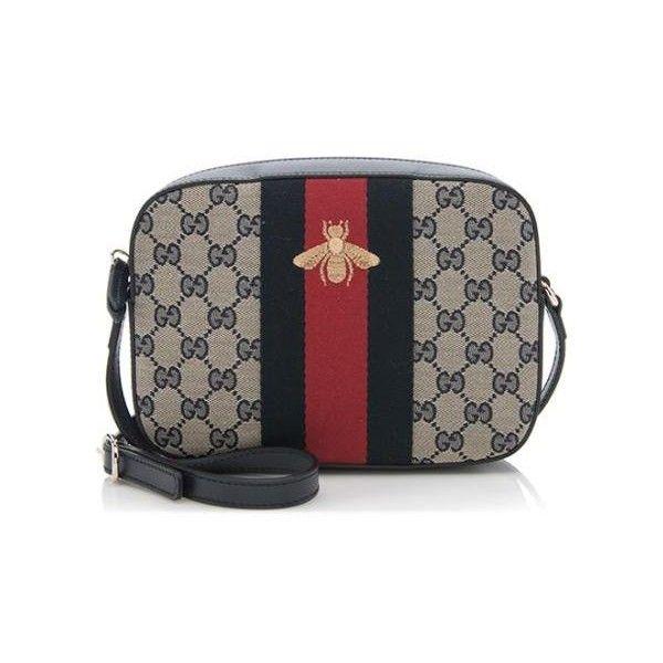 90e3424c9fb Rental Gucci GG Canvas Bee Web Shoulder Bag (89 JOD) ❤ liked on Polyvore