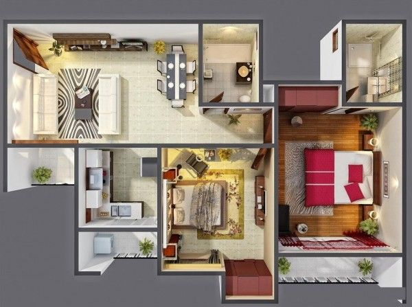 25 Two Bedroom House Apartment Floor Plans 1 Bedroom House Plans Two Bedroom House Three Bedroom House Plan