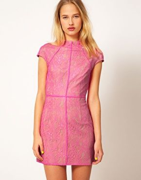 Shakuhachi Fitted Dress In Neon