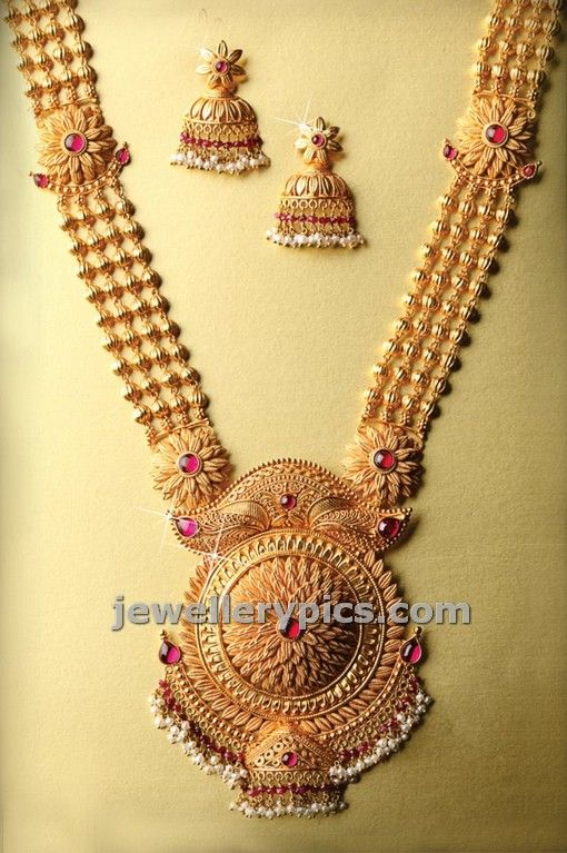 Cute Gold Haram Design Latest Design By Png Jewellers Latest Jewellery Designs Gold Haram Designs Gold Haram Gold Jewellery Design Necklaces