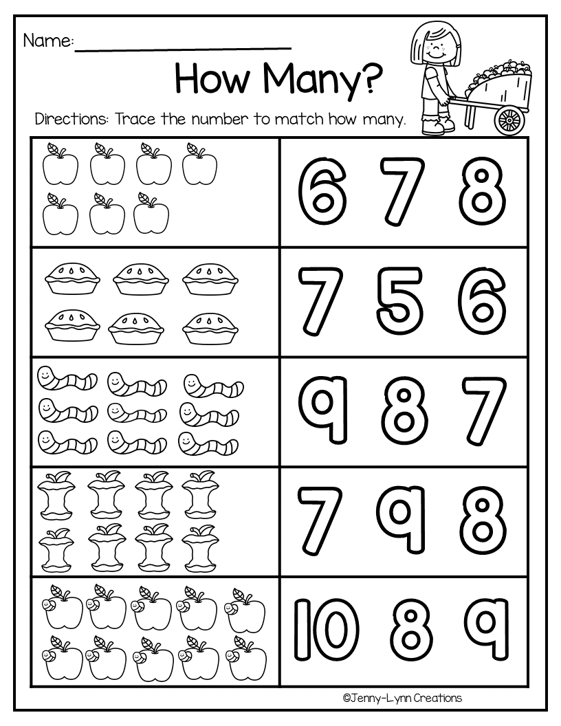 September Math And Literacy Preschool Math Worksheets