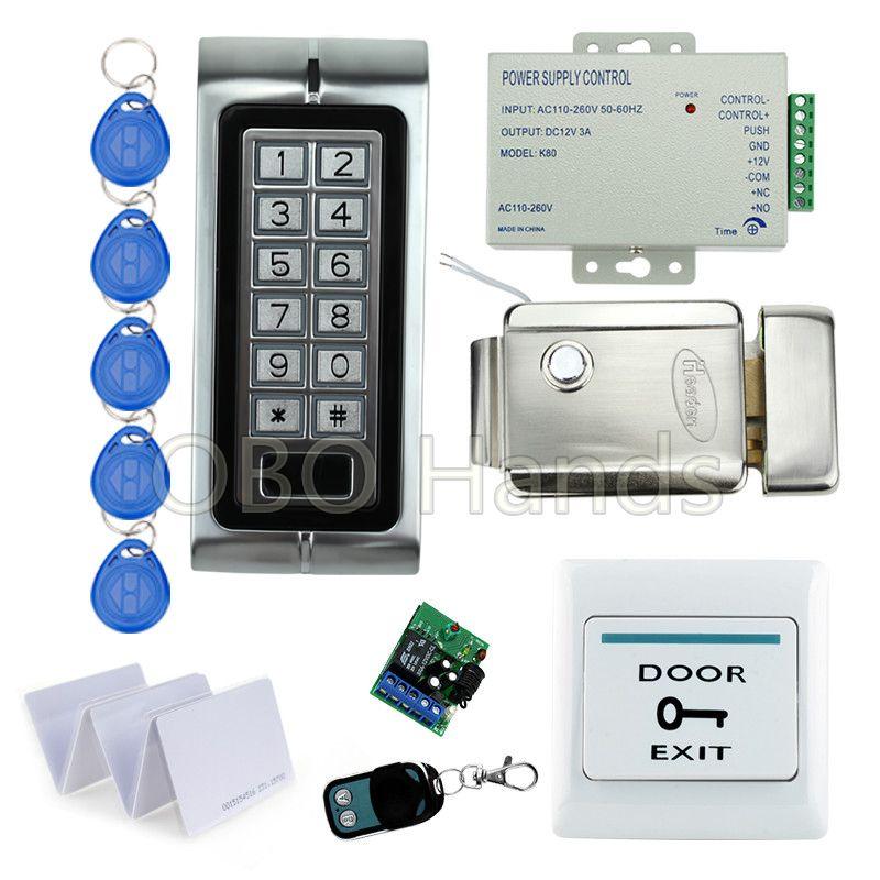 Diy Lock System Metal Keypadl K2 Electric Control Lock 3a Power Supply Exit Button 10pcs Key Cards Wireless Remote Contr Access Control Remote Control Diy Lock