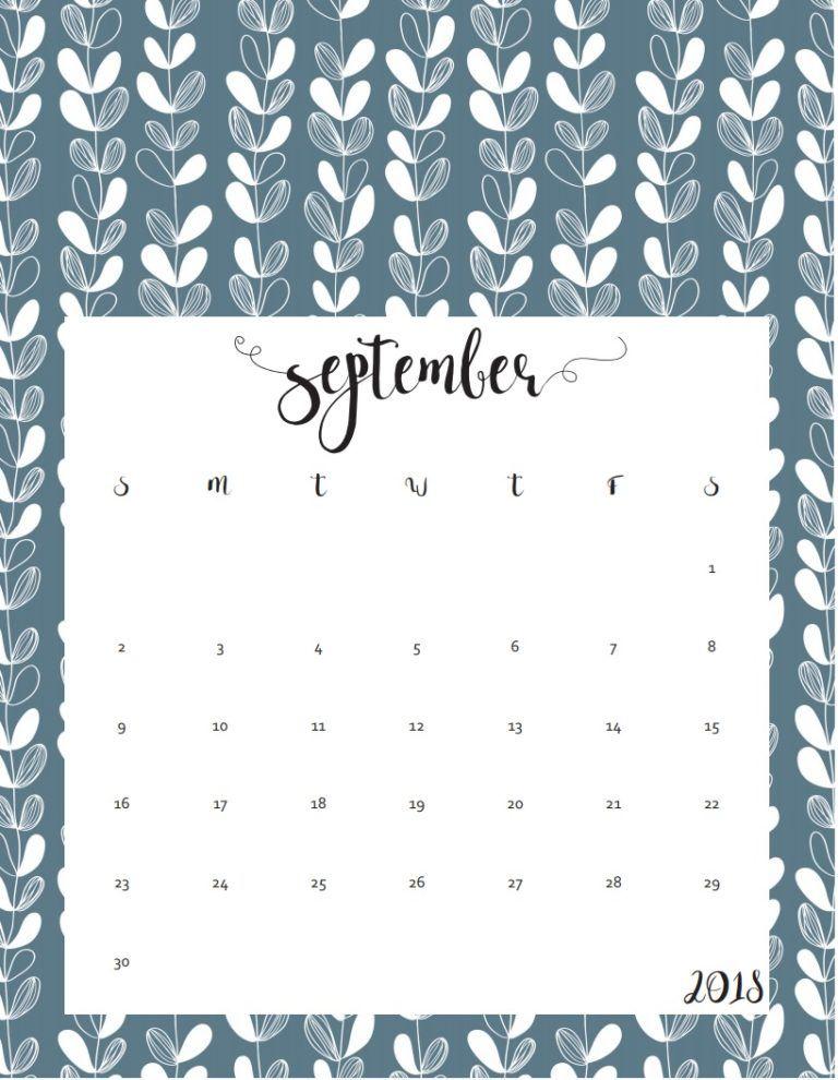September 2018 Calendar Template Word PDF Excel Format September