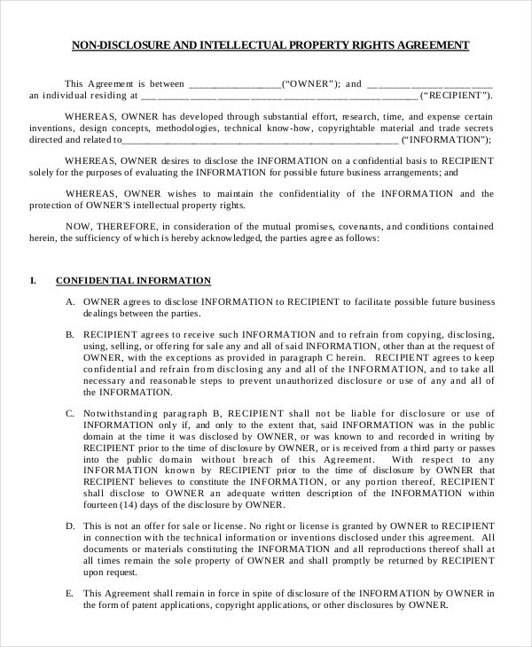 Free Non Disclosure Agreement Form Word Pdf Documents Lease