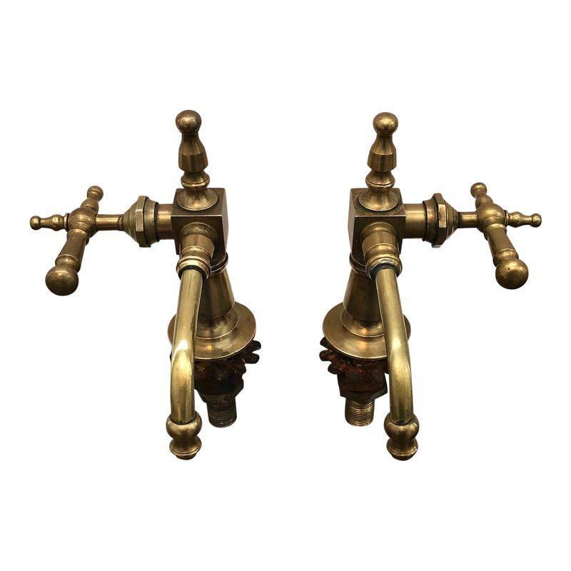 Antique French Brass Faucet Fixtures, Pair | Brass faucet ...