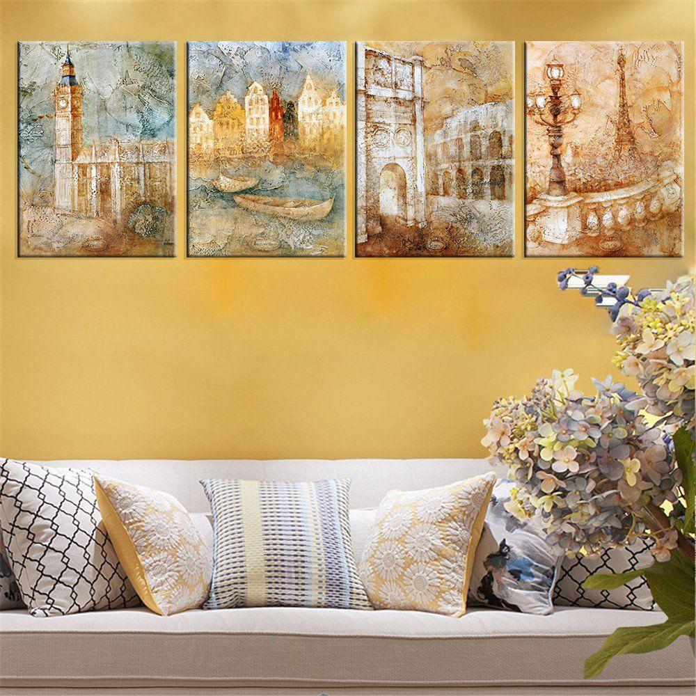 Canvas Painting London Scenery Print Cuadros Decoration City Scenery ...