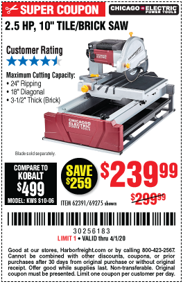 Chicago Electric 2 5 Hp 10 In Tile Brick Saw For 239 99 Brick Saw Harbor Freight Tools Brick