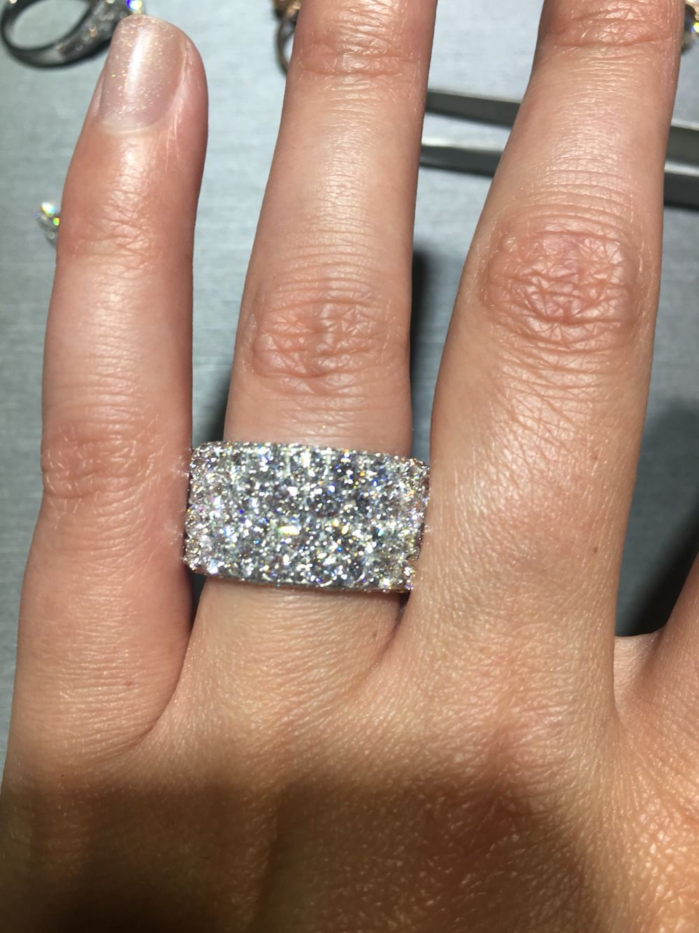 Large Diamond Band, Alternative Engagement Ring, Right Hand Ring, Fine  Jewelry