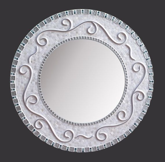 Mosaic Mirror Wall Decor large white mosaic mirror//teal silver white mother of pearl shell