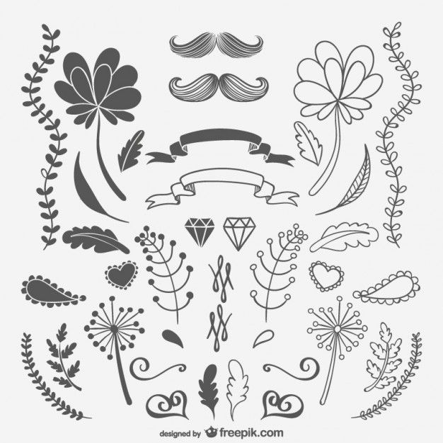 Download Black And White Sketchy Ornaments And Flowers for ...