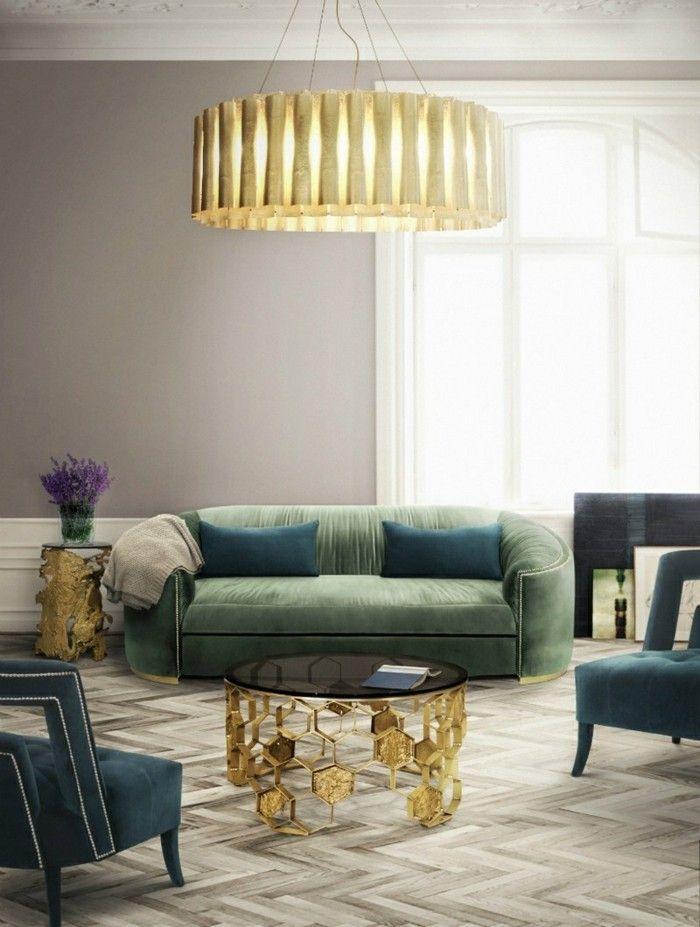 GroBartig Wohnzimmer Lampen Leuchten Trends 2018 Gruen Gold