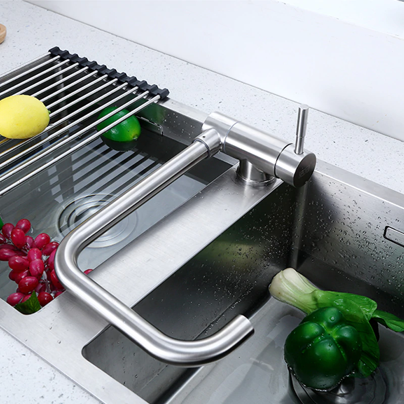 kitchen faucet folding stainless steel