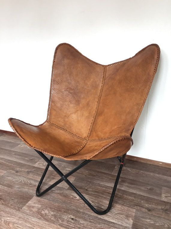 b184e61f490098 Items similar to Leather butterfly hand made chair -RICH BROWN on Etsy