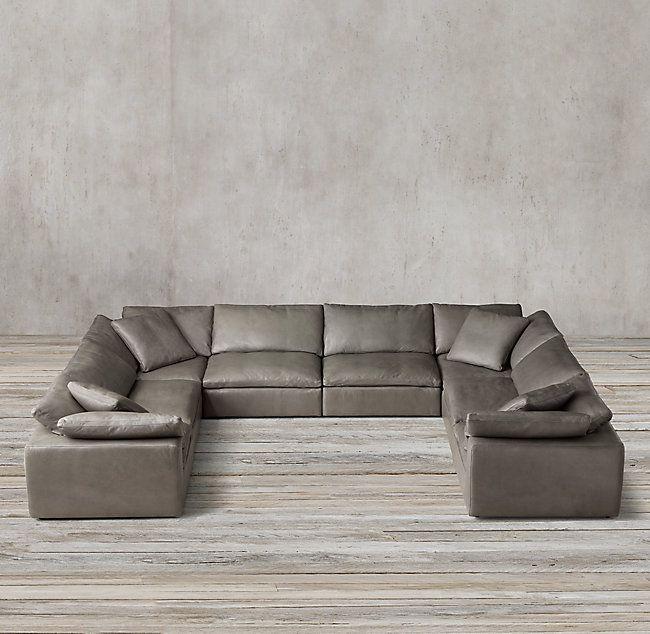 Cloud Modular Leather U Sofa Sectional Sectionals Design Restoration Hardware