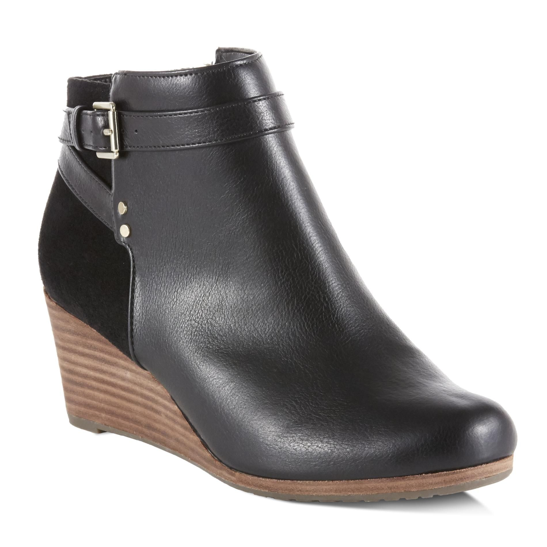 Walk With Modern Style And Maximum Comfort In These Women S Double Wedge Booties By Dr Scholl S These Ankle Boots Wedges Booties Womens Wedges Woman Booties