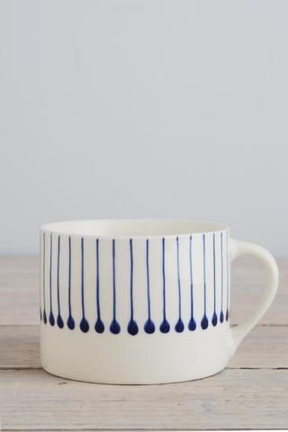 Indigo line mug | Decorator's Notebook Shop #ceramicpainting Indigo line mug | Decorator's Notebook Shop #potterypaintingdesigns