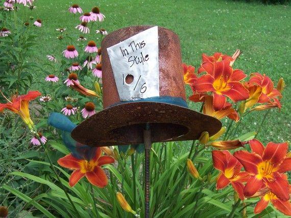 the mad hatter alice in wonderland inspired metal garden art metal lawn ornament metal garden. Black Bedroom Furniture Sets. Home Design Ideas