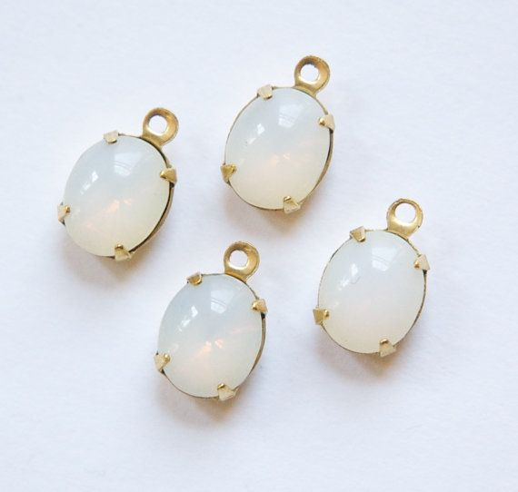 Vintage White Opal Oval Stones in 1 Loop Brass by yummytreasures