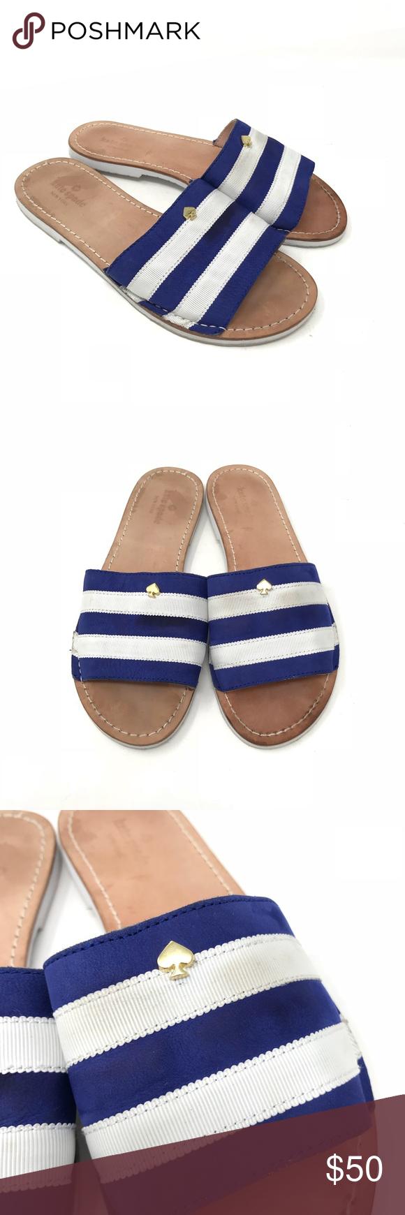 264cd9c9f771 Kate Spade Sandal Imperiale Grosgrain Stripe Slide Kate Spade New York  Sandals Size 7.5 Imperiale Blue White Grosgrain Stripe Slide White shows  graying