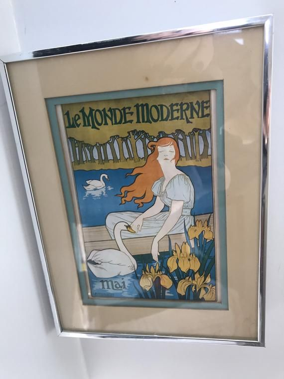 Vintage Le Monde Moderne Mai Print Maurice Pillard Verneuil Framed Matted 1896MAURICE PILLARD VERNEUIL (1869-1942). LE MONDE MODERNE / MAI. 1895. Lower left corner:  mp.VerneuilDe Vaugirard, Paris.This piece is from our large collection of vintage art and posters.About the artist:Maurice Pillard Verneuil learned his trade from the Swiss designer Eugène Grasset.[2] Maurice Pillard Verneuil then went on to become a well-known artist and designer. He was inspired by Japanese art and nature, partic