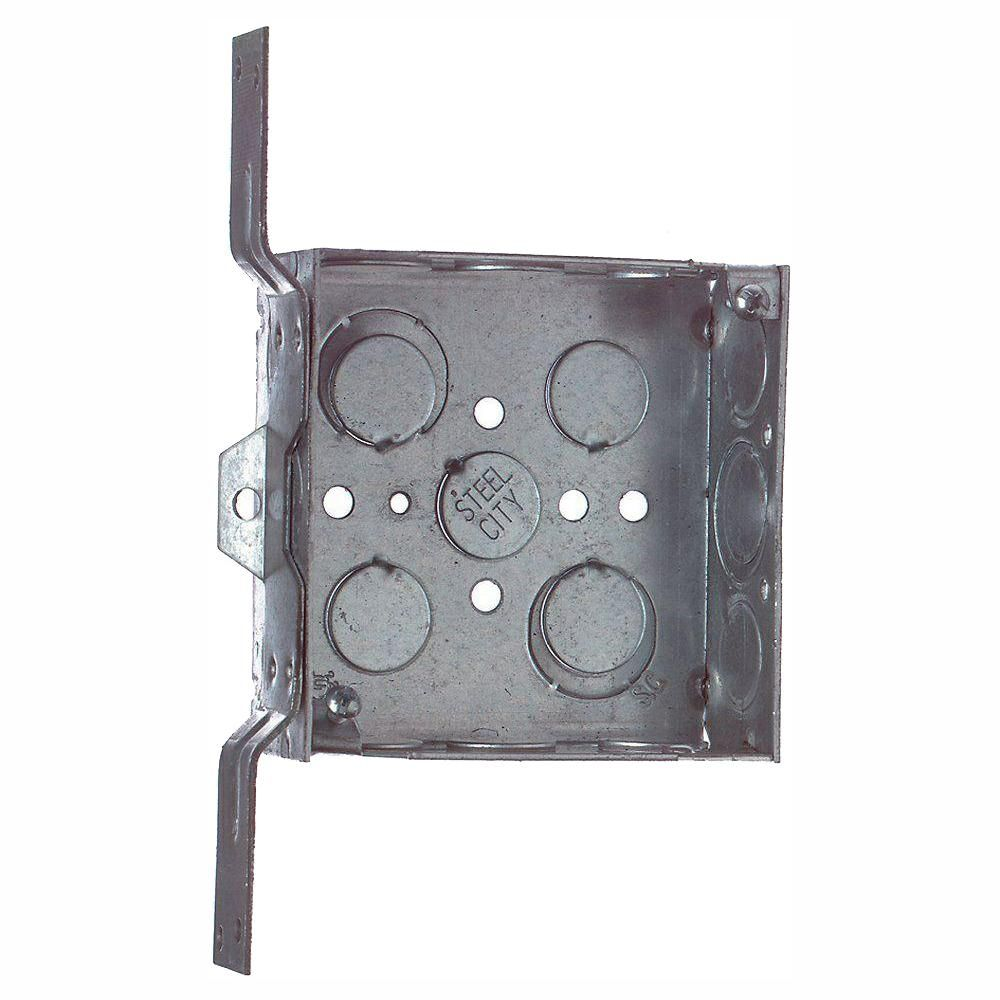 Steel City 2 Gang 4 In New Work Square Metal Electrical Box With Bracket Case Of 25 52151cv1234 25r Metal Electrical Box Galvanized Steel Metal Working
