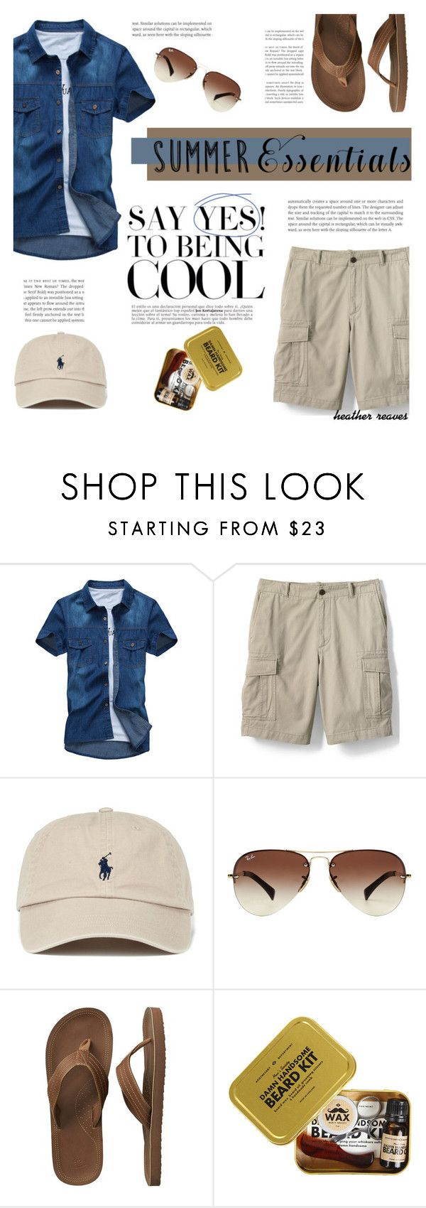 """""""Summer Menswear Essentials"""" by heather-reaves ❤ liked on Polyvore featuring Lands' End, Ray-Ban, Gap, Men's Society, men's fashion, menswear and summermenswearessentials"""