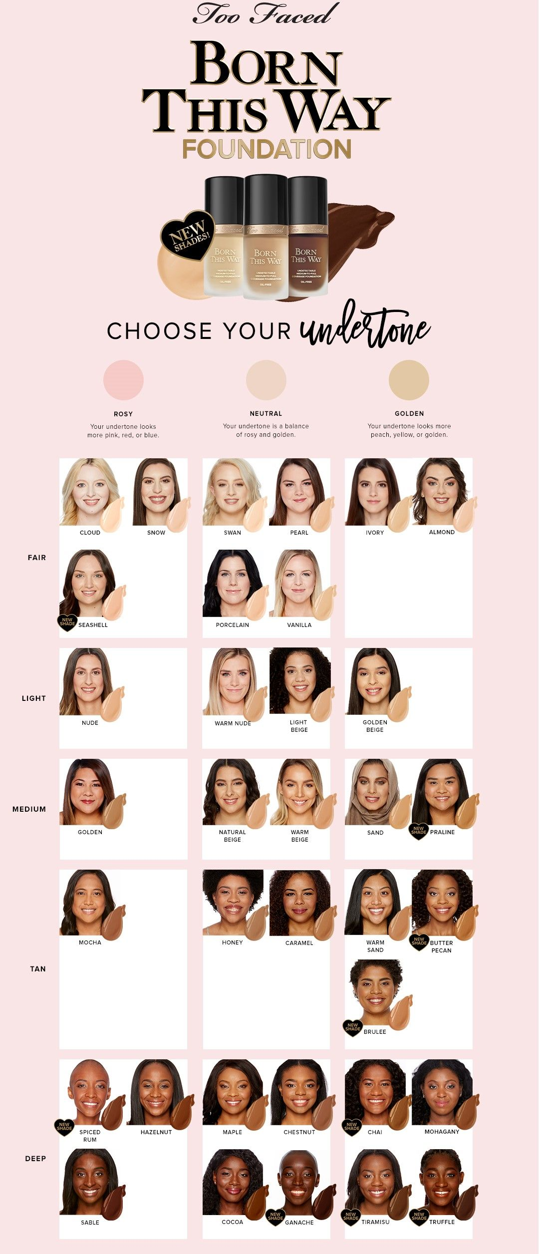 Too Faced Born This Way Foundation Chart (With images ...