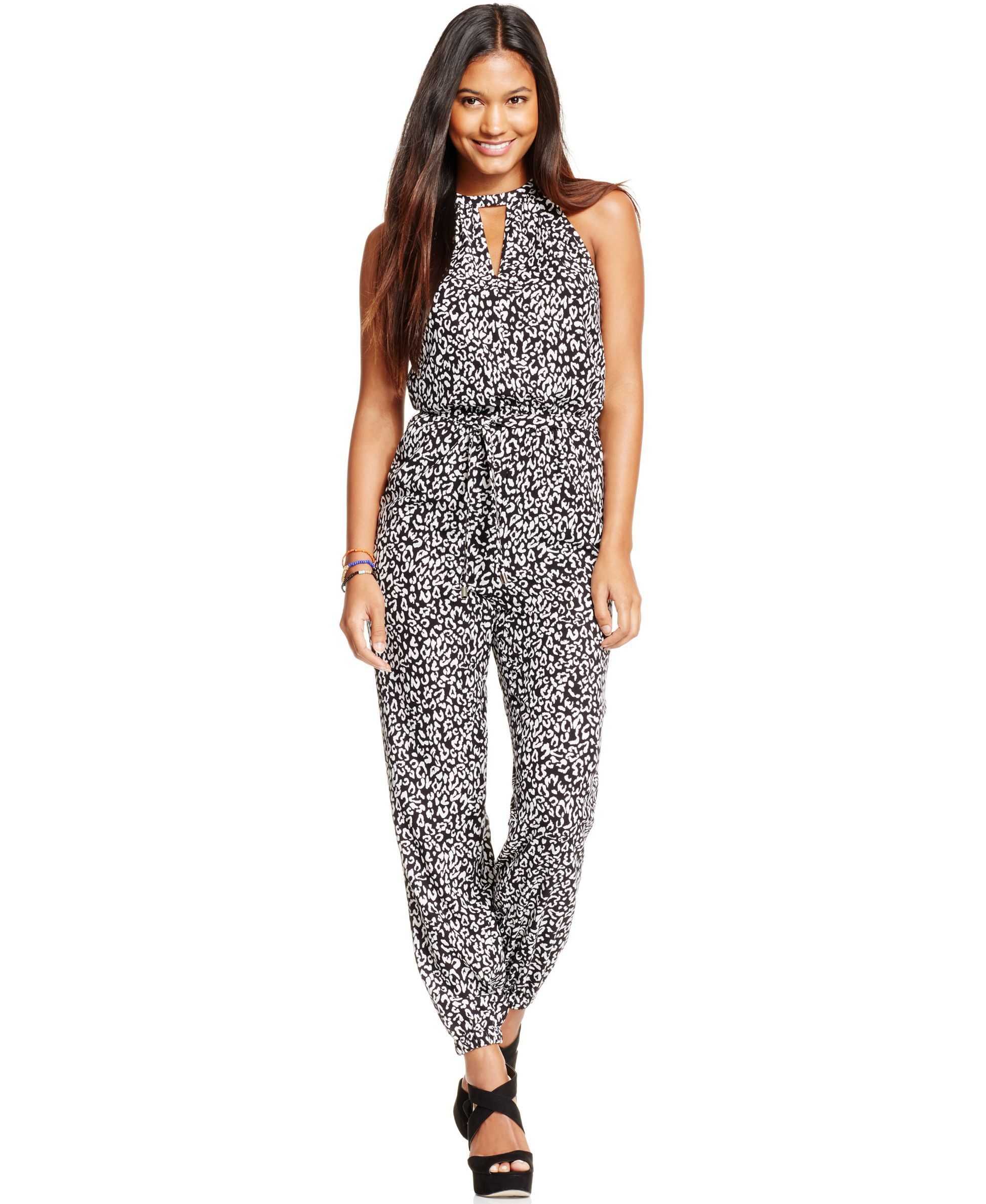3eb4280163ca Marilyn Monroe Juniors  Animal-Print Cutout Jumpsuit