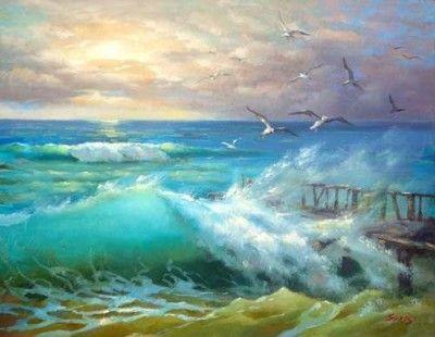 Cuadros Para Pintar Al Oleo Faciles Y Bonitos By The Sea Pintura