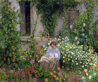 Camille Pissarro - Mother and Child in the Flowers