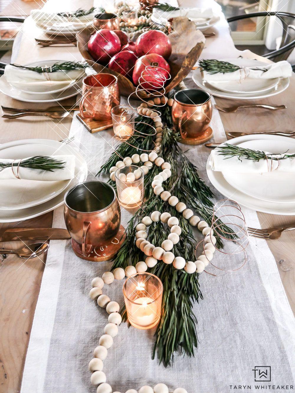 Organic Modern Christmas Table Holiday Table Decorations