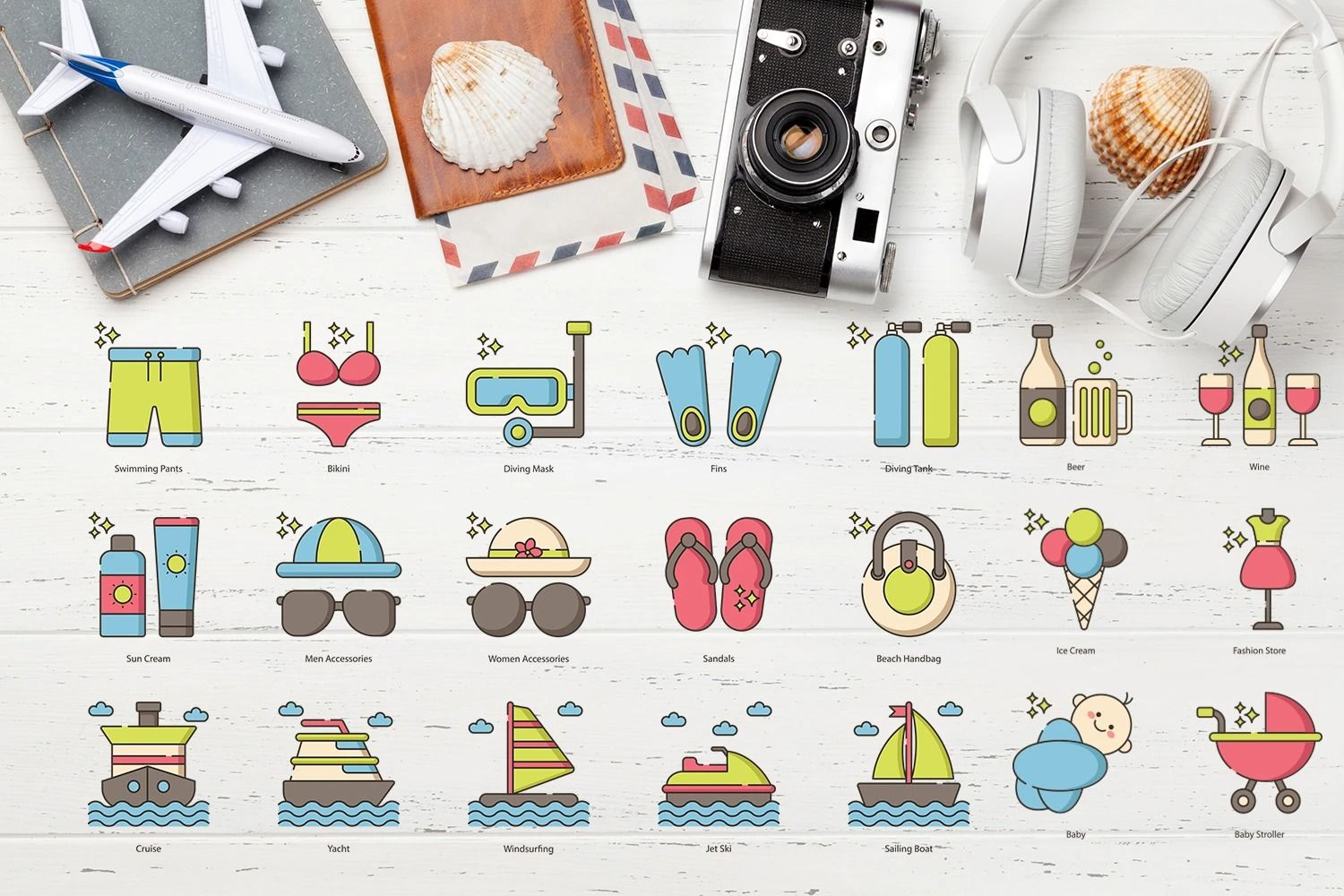 Set of 26 Travel icons. Color version