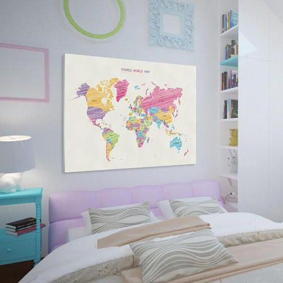 Cute world map canvas large art map poster bright world map wall cute world map canvas large art map poster bright world map wall art fancy world map design stylish map interior decor perfect gift gumiabroncs Choice Image
