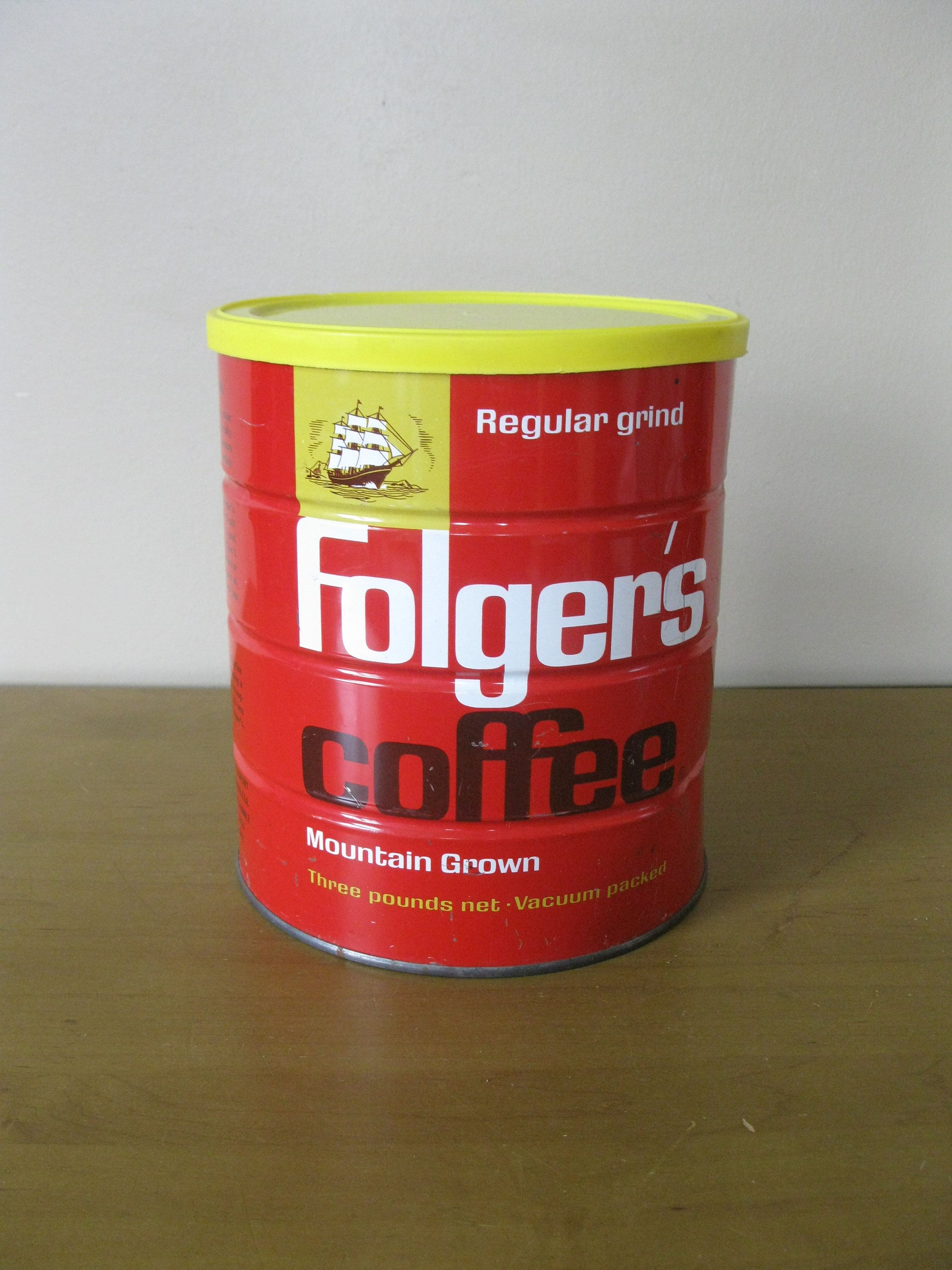 Vintage 1963 Folgers Coffee Tin 3 Lb Can With Lid Large Regular Grind Planter Succulent Kitchen By