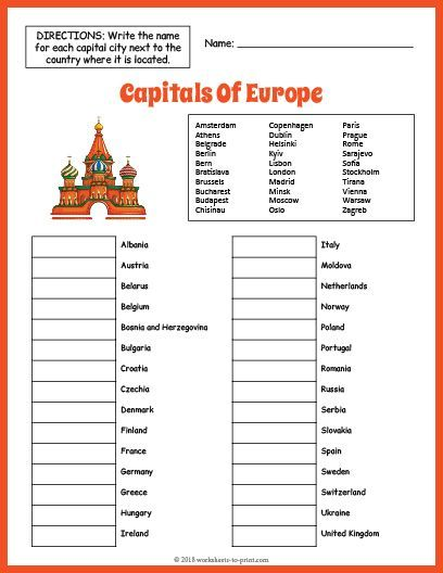 Photo of Free Printable Capitals Of Europe Geography Worksheet