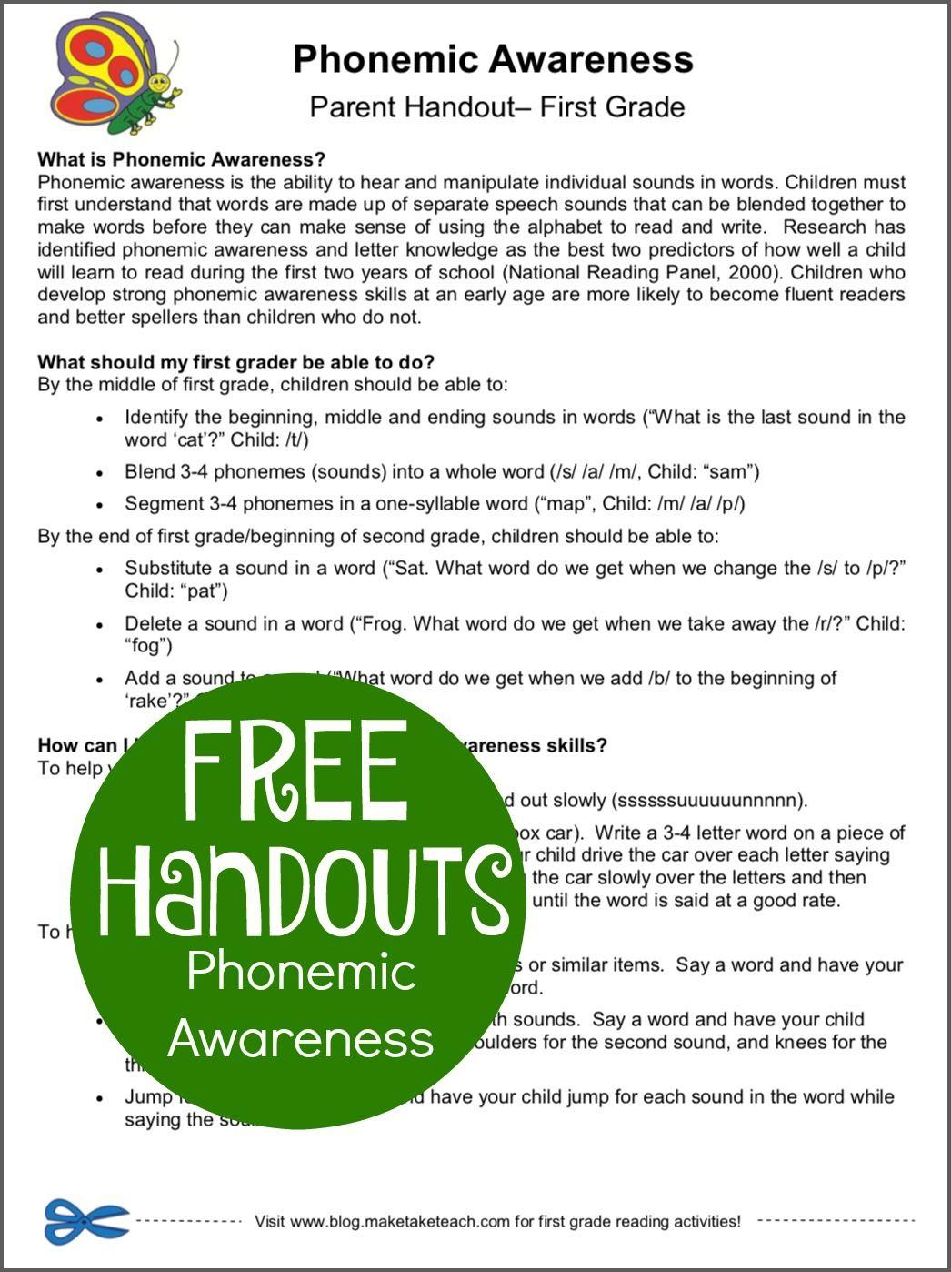Phonemic Awareness Free Resources
