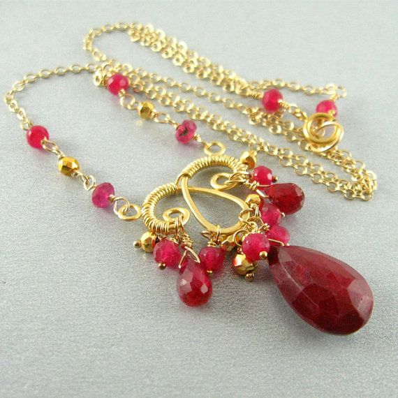 Ruby and Pyrite Gold Wire Wrapped Necklace by SurfAndSand on Etsy