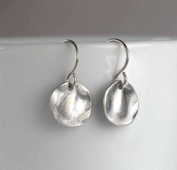 Hammered Silver Earrings Small Silver