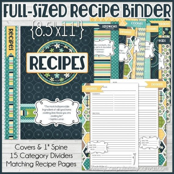 RECIPE BINDER Kit Printables (NAVY), Recipe Book, Recipe