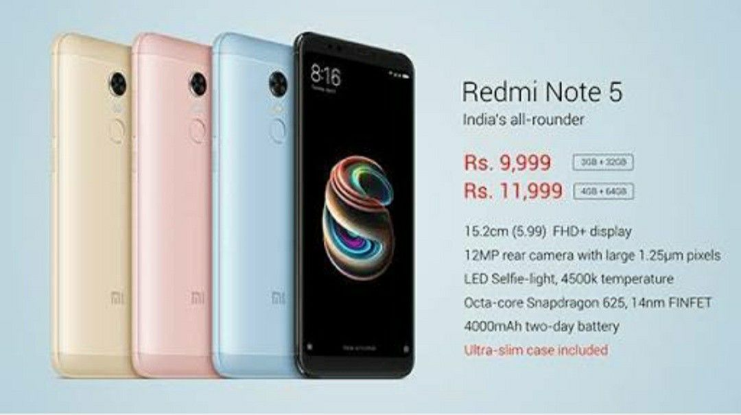 Redmi Note 5 The Best All Rounder 13 Mp Rear Camera 4gb Ram 64gb