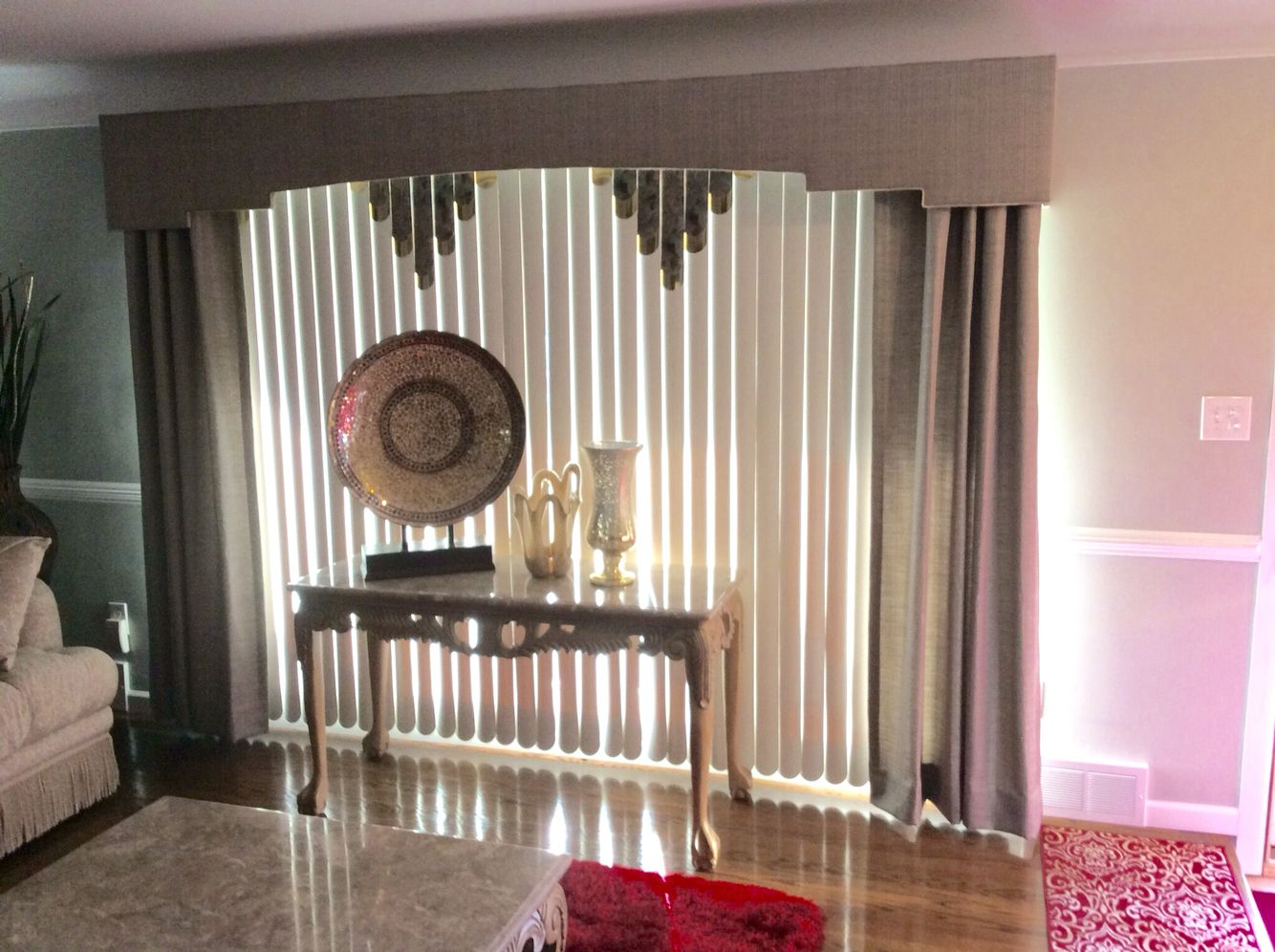 Deco, Fabric Wrapped Cornice Board With Drapery Panels Over Vertical Blinds
