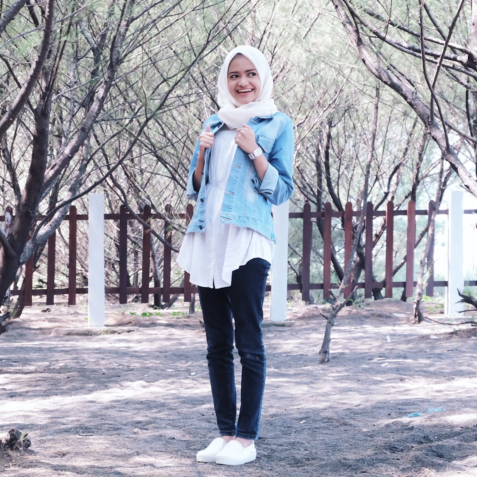 Denim jacket overblouse black jeans hijab school autumn outfit