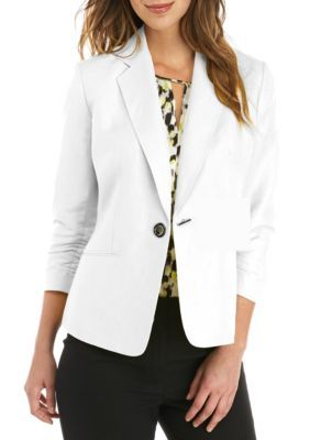 f46cb323f4d75e Kasper Women's Petite Ruched Sleeve One Button Linen Jacket - New Lily White  - 12P