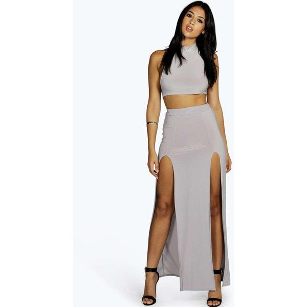 5bfc316e57 Boohoo Samarah Thigh Split Slinky Maxi Skirt ($16) ❤ liked on Polyvore  featuring skirts, grey, midi skirt, long maxi skirts, a line skirt, a line  maxi ...