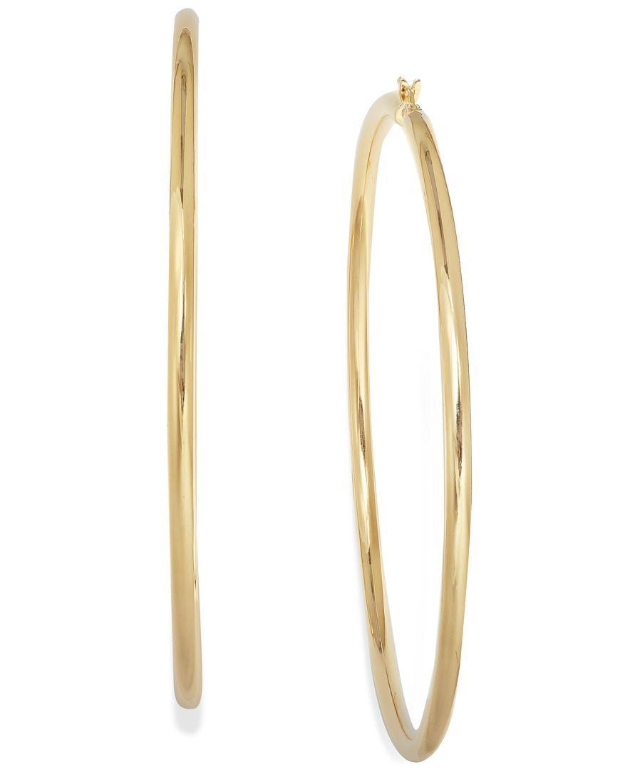 14k Gold Vermeil Earrings, Round Hoop Earrings