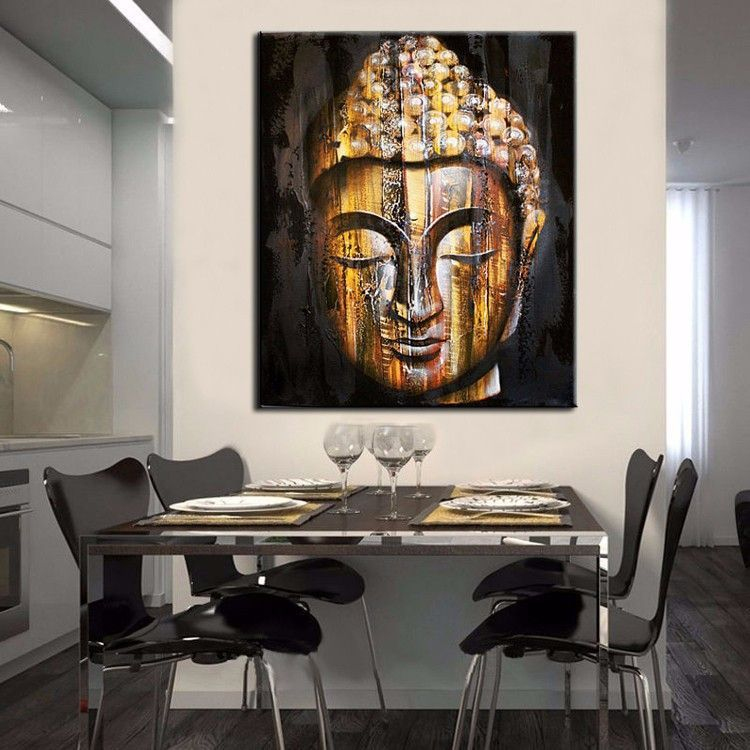 HD Modern Golden Wood Buddha Painting. Kitchen Wall DecorationsLiving Room  ...