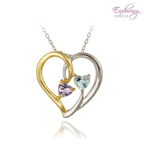 Two-Tone Sterling Silver Genuine Amethyst & Topaz Heart Necklace at 69% Savings off Retail!