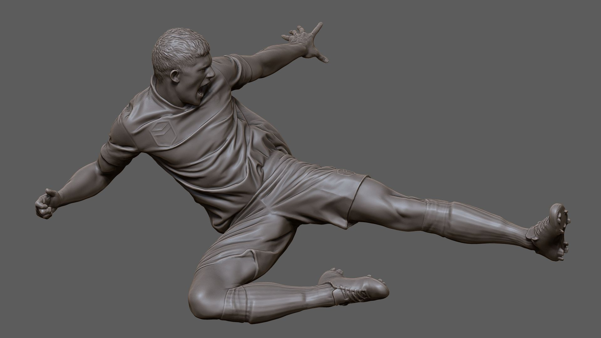 Digitally sculpted 3d model from a photogrammetry scan of an action