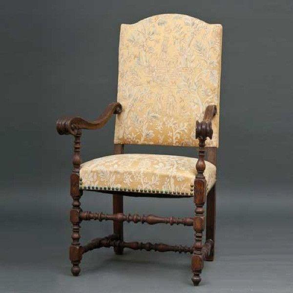 Marvelous Italian/Spanish Baroque Walnut Upholstered Armchair